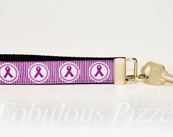 Chiari Malformation Awareness Wristlet Keychain Domestic Abuse Survivor Purple Ribbon Chron's Disease Colitis Chronic and acute pain