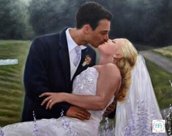 Custom Wedding Portrait. Custom Portrait. Custom Oil painting. Commission wedding. Wedding Painting.Wedding personalized gift.6 Sizes
