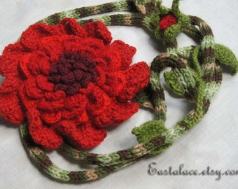 Red Poppy Flower Crochet Scarf Crochet Necklace Gift Ideas for Her Lariat Necklace Crochet Scarf