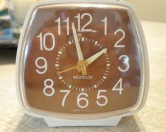 Vintage Westclox Alarm wind up clock, MCM, modern, decor, classic, brown