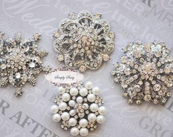 Rhinestone Brooch Pin - Brooch Jewelry Components Rhinestone Embellishments - Rhinestone Jewelry - DIY Wedding - DIY Brooch Bouquet Supplies
