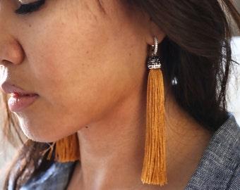Pave CZ Diamond | Silk Tassel Earrings