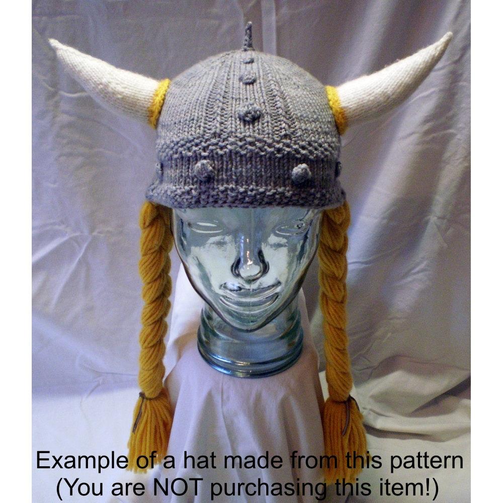 Knitting Pattern Horned Viking Hat with Braids, Viking Helmet ...