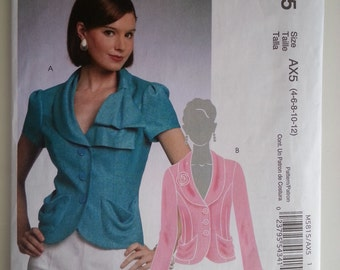 Short jacket / fitted /button down/ Womens/ Shawl collar/jacket 2009 sewing pattern, Bust 29 30 31 32 34, Size 4 6 8 10 12, McCalls M 5815