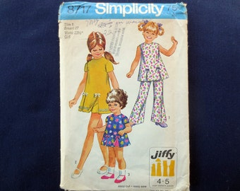 1970 Girls Dress or Tunic & Pants Vintage Pattern, Simplicity 8717, Size 8, Breast 27