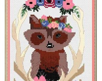 Woodland Raccoon Cross Stitch Pattern PDF Download Katelyn Renee