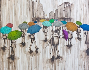 Love in the Rain Art, Titled Finding Love, limited edition Canvas Giclee, Ready to Hang