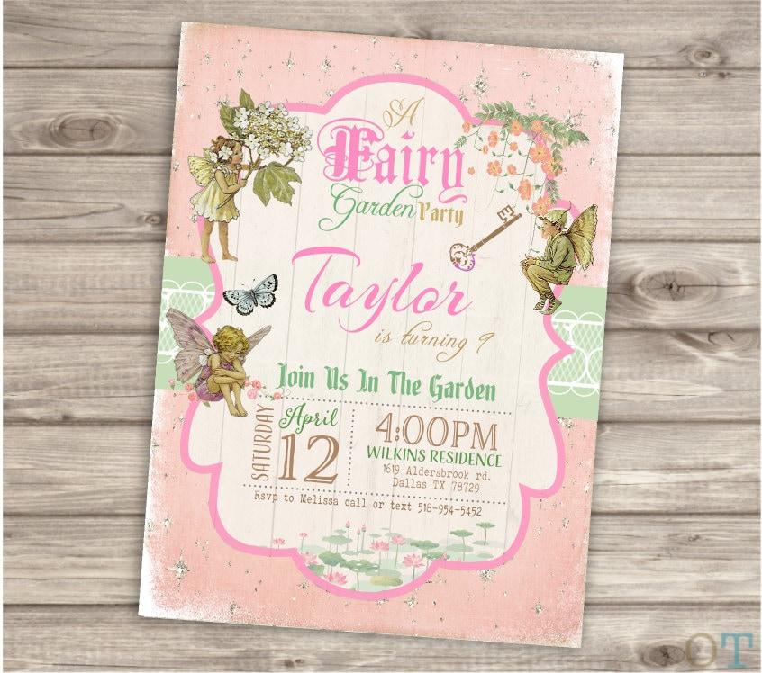 Fairy Woodland Invitations Shabby Chic Fairies Birthday Party