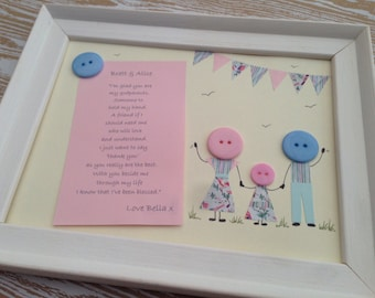 Personalised godparent framed button picture. Perfect gift for Christenings!
