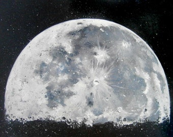 Moon painting original Stars the Solar system Galaxy Art oil on canvas original for Interior painting  modern painting Black and white art