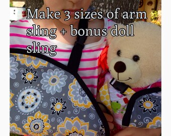 DIY Arm Sling Cast Cover Sewing Pattern Three Sizes Kids & Adults plus Bonus Doll Sling Pattern PDF digital download ONLY #dbapcc