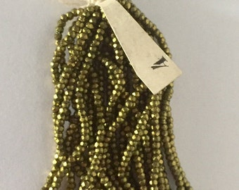 RARE - Antique Metal Cut Micro Beads 4 - OLIVE GOLD