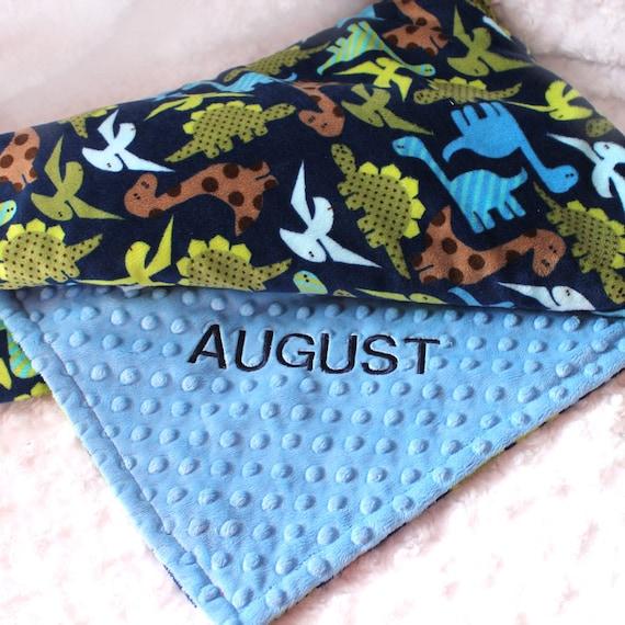 Blue Dinosaur Blanket, Crib Bedding, Minky Baby Blanket, Personalized Blanket Baby Boy, Kids Minky Blanket, Minky Throw Blanket, Baby Gift