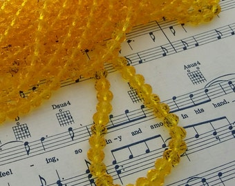 Yellow Glass Beads - 42 pcs - 8mm x 6mm - Yellow Faceted Beads -  Rondelles - Dark Yellow Beads