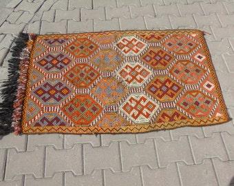 Multi-Colored Zili Kilim Rug, Decorative Vintage Kilim Rug, Small Kilim Rug, Entry Rug, Bedside Kilim Rug, 2'6 x 4'1 / 81 X 128 cm