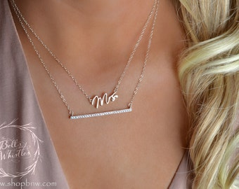 Mrs Necklace, Just married, bride to be, Sterling Silver, Delicate Necklace, Gold Necklace, new bride gift, engagement gift
