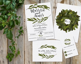 Wedding Invitation Bundle - Magnolia Invitation Bundle - Leaf Wreath Invitation - Southern Wedding Invitation - Southern Bride - PRINTABLE