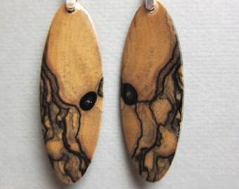 Black White Ebony Exotic Wood Earrings, Unique recpurposed reclaimed drop dangle