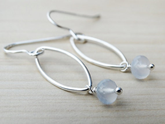 Silver & Pale Blue Chalcedony Drop Earrings - Sterling Silver