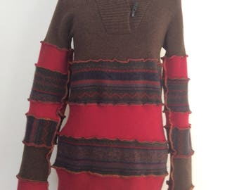 Katwise Inspired recycled upcycled  cashmere and wool sweater dress size medium