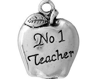 10 Apple No 1 Teacher School Antique Silver Charms 14mm x 17mm (250)