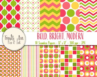 Bold and Bright Digital Wallpaper, Pink, Yellow, Green, Bold, Modern, Seamless, Digital Paper, Digital Paper Pack, Digital Background