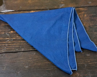 "Indigo Dyed Cotton Bandana 22"" x 22""  Made in USA"