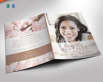 Cherry Funeral Program Publisher and Word 2013 Template (8 Pages) 5.5x8.5 Folded