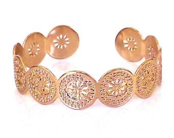 Rose gold cuff bracelet, Rose Gold cuff, cuff bracelet, Rose gold bracelet, rose gold bangle, floral bracelet, rose gold jewelry