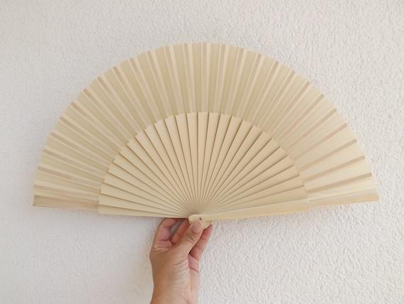 L Cream Plain Wooden Hand Fan