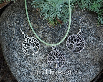 Silver Tree of Life Earring and Necklace Set on Green Silk Cord