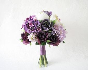 Purple Bridal Bouquet, Maid of Honour Bouquet, White Pheonies Wedding Bouquet, Hydrangea Wedding Bouquet, Purple Roses Floral Bouquet