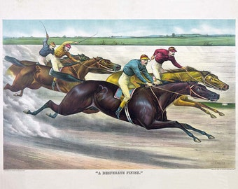 Vintage Horse Racing - Currier and Ives - Horse Race - Horse lover - Racing Horses - Horse Print - Equine print - Den art - Jockey art
