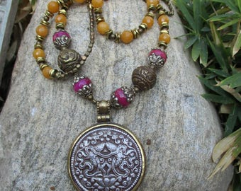 Tibetan Double Fish Pendant on Necklace of Butter Jade and Tibetan Beads - Long Boho Necklace