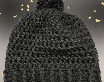 Simple Slouchy Crochet Hat with Pompom