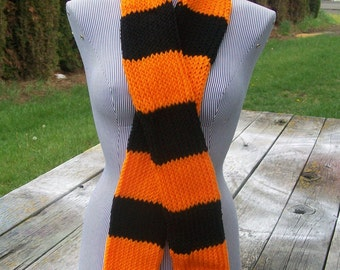 Knitted Orange and Black Striped Long Knitted Scarf Ready to Ship