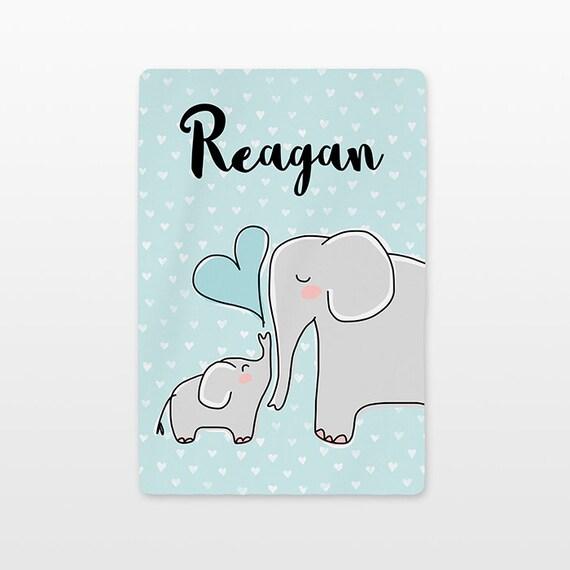 Elephant Baby Blanket Personalized Name Custom Baby Boy Throw Plush Minky Soft Fleece Kids New Baby Gift Idea Cute Animal Gray Aqua Blue