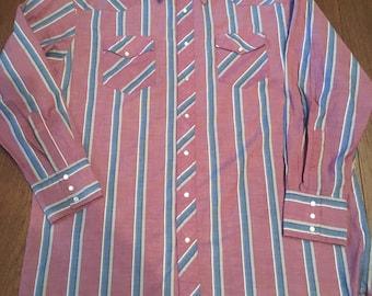 Wrangler Pearl Snap Western Shirt Cowboy Snap Shirt Men's XL Tall