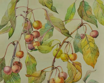 Watercolor painting original. Cherry painting. Watercolor paint by hand. Original art only. Fruits art. Nursery art. Kitchen decor.