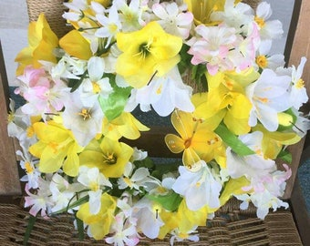 Beautiful spring or Easter wreath yellow and white floral