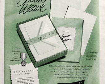 1951 Montag's Inner Weave Ad - 1950s Stationery, Fashionable Writing Papers Advertising