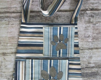 Bucket Bag/tote - Blue stripes with 2 paw prints on pockets
