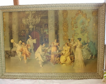Antique French Parlor Print Dancing Entertaining Clowns Large Carved Wood Frame Romantic French Shabby Cottage Chic Artwork Framed Print
