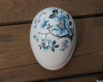 Vintage 1960s to 1980s Limoges France White Porcelain Egg Shaped Covered Dish Trinkets Jewelry Collectible Flowers/Floral Blue/Pink Decor