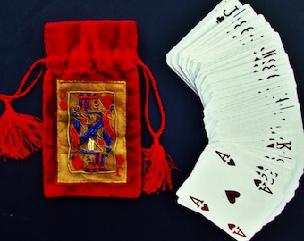 RED VELVET Casino Pouch Vintage Bag Authentic Vegas Clipped Playing Cards Soft Drawstring Evening Purse Bag Blue Red Gold Shimmeri Fabric