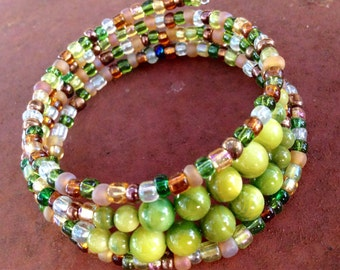 Olivine and Glass Memory Wire Bracelet