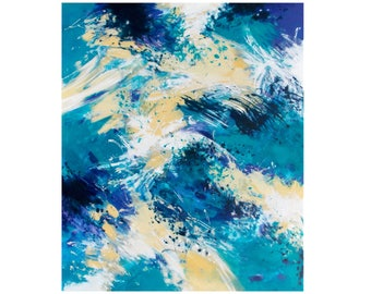 Abstract Expressionist Painting, Original Abstract Painting, 20x24 Canvas Wall Art, Coastal Home Decor, Modern Art, blue white gold
