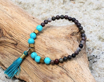 Remain Calm | Jasper, Turquoise, Hematite, Tassel