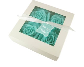Rose Bath Set  - Choose Colors - Bath Gift - Luxurious Botanical Rose Soaps