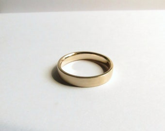 Custom Men's or Women's Solid Gold 14K Yellow Gold Contemporary Satin Finished Wedding Band. Men's Gold Wedding Ring. 14K Gold Wedding Band.